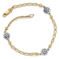 Italian 14k Two-Tone Gold Polished and Diamond Cut Bracelet - 7.5 inches