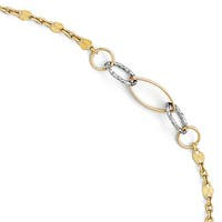 Italian 14k Two-Tone Gold Polished & Textured Anklet with 1in ext - 9 inches