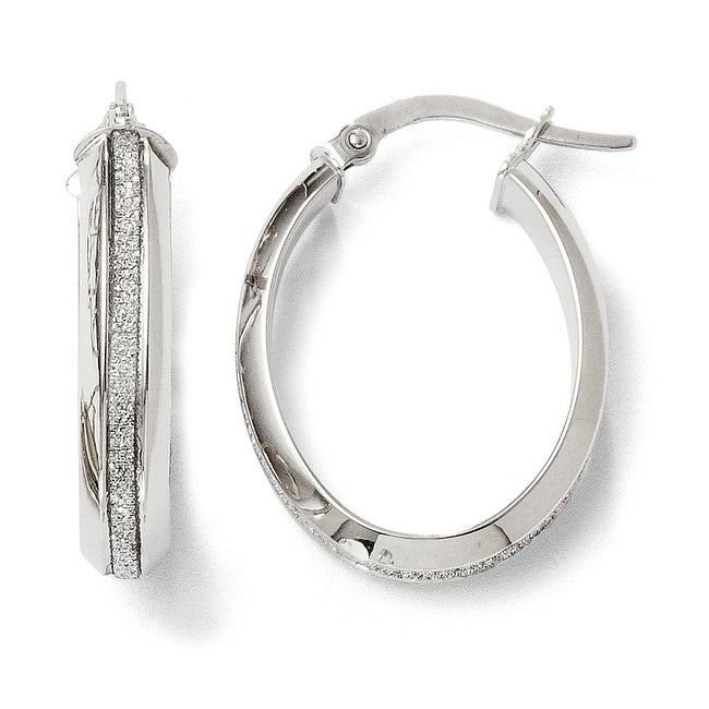 Italian 14k White Gold Polished Glimmer Infused Oval Hoop Earrings