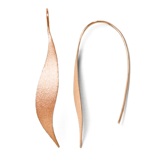 Sterling Silver Rose Gold-plated Polished & Brushed Earrings