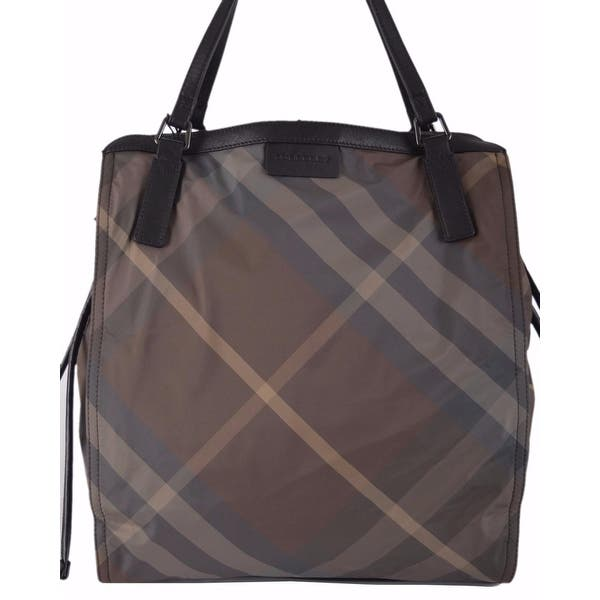 dc1a93e6c Burberry Birch Grey Nylon Nova Check Packable Purse Bag Tote Shopper -  Brown/Beige Check/Camel Trim