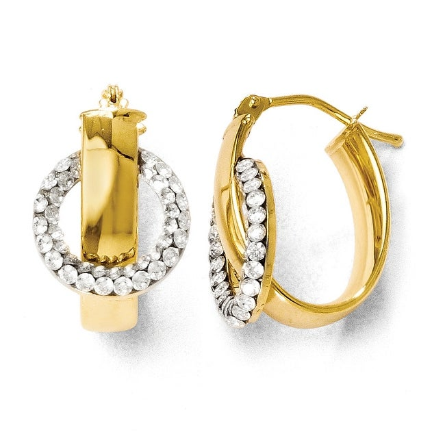 Italian 14k Gold and Austrian Crystal Elements Polished Oval Hoop Earrings