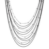 Italian Sterling Silver Ruthenium-plated Beaded Necklace with 2in ext - 24 inches