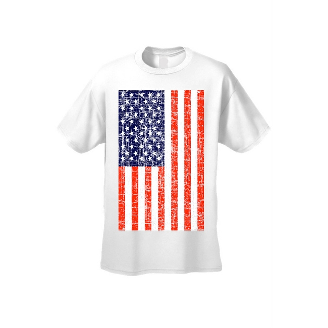 Men's T-Shirt USA Flag American Pride Stars & Stripes Old Glory Tee Distressed
