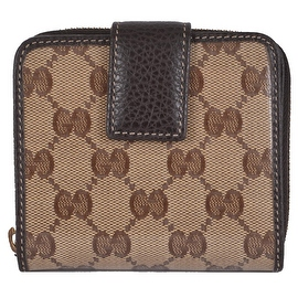 Gucci Women's 346056 Crystal Canvas GG Guccissima French Zip Around Wallet