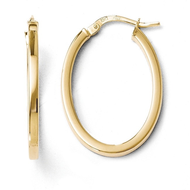 Italian 10k Gold Polished Oval Hinged Hoop Earrings