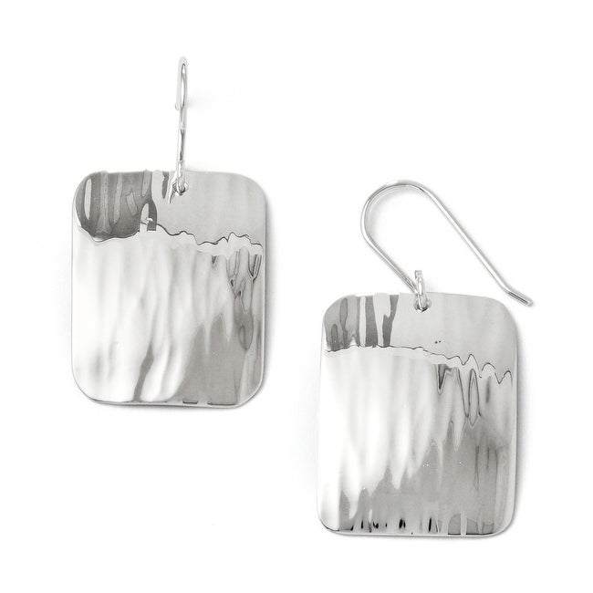 Sterling Silver Polished Hammered Shepherd Hook Earrings