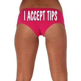 Women's Sexy Hot Booty Boy Shorts I Accept Tips Wavy White Bold Style Type Lingerie
