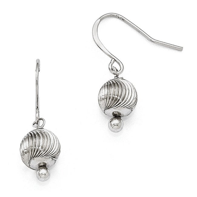 Sterling Silver Textured Bead Dangle Earrings