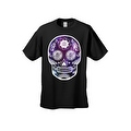 Men's T-Shirt Funny Sugar Skull Purple Galaxy Hipster Day of the Dead Victorian Tee - Thumbnail 4