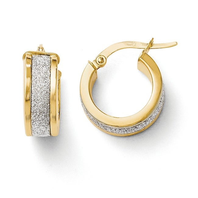 Italian 14k Gold Fancy Glimmer Infused Hoop Earrings