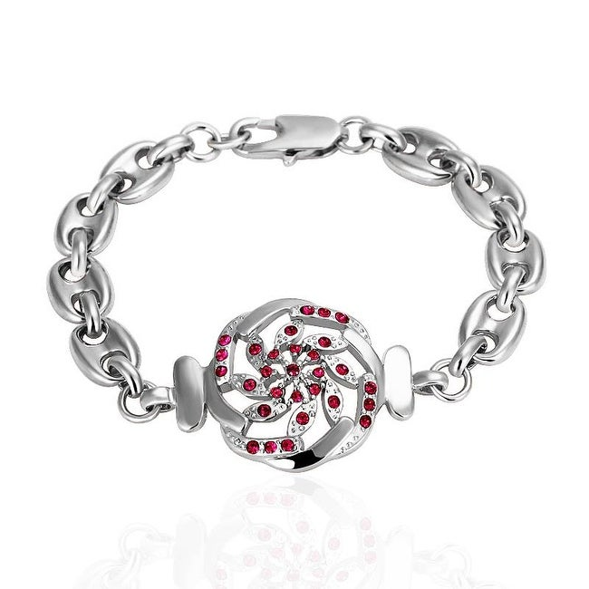 Shop Vienna Jewelry White Gold Thin Line Bracelet with Ruby Emblem with  Austrian Crystal Elements - Free Shipping On Orders Over  45 -  Overstock.com - ... 5892a5b57f11