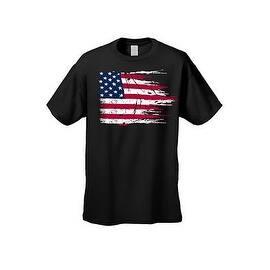 a459b3505a3 MEN S AMERICAN FLAG T-SHIRT USA Ripped Distressed Flag STARS STRIPES  HORIZONTAL