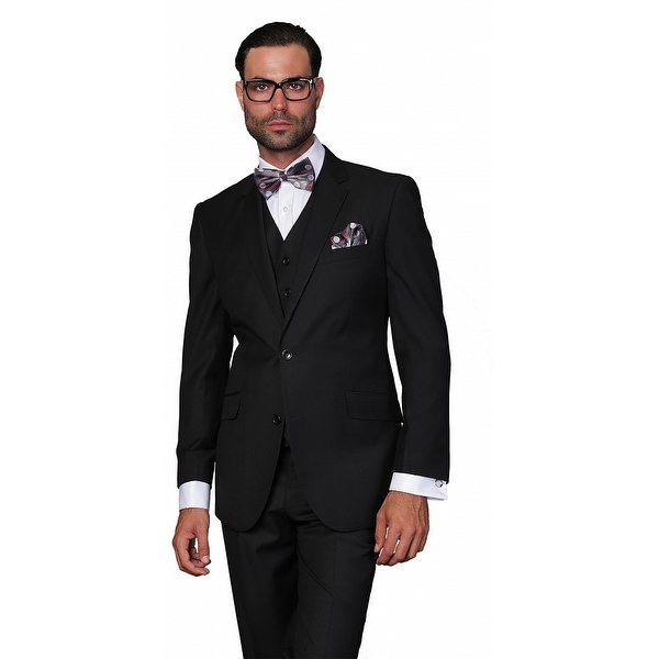 ST-100 Men's 3pc Solid Black Suit, Modern Fit, 2 Button, 2 Side Vent, Flat Front Pants