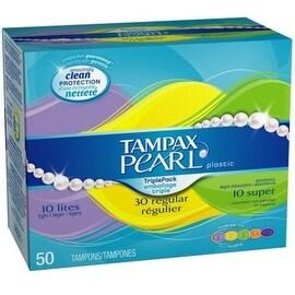 Tampax Pearl Tampons Triplepack, Unscented, Lite Regular Super 50 ea
