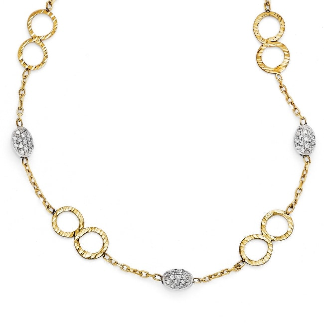 Italian 14k Gold Polished Diamond Cut CZ Pave Necklace - 17 inches
