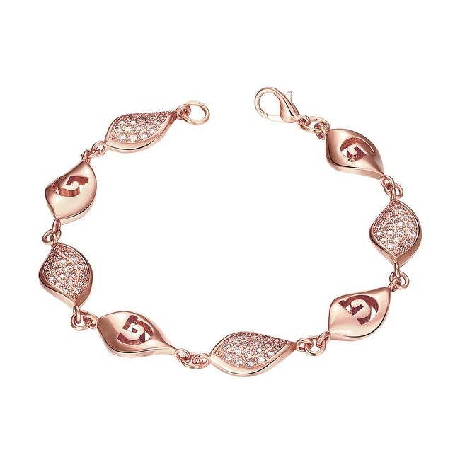 Vienna Jewelry Rose Gold Plated European Intertwined Matrix Bracelet