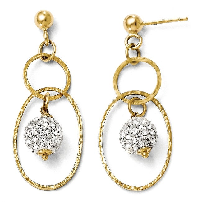 Italian 14k Gold Post Dangle Austrian Crystal Earrings