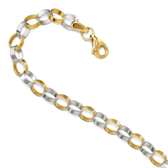 14k Two-Tone Gold Polished Bracelet - 7 inches