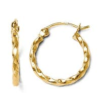 14k Gold Polished Twisted Hoop Earrings