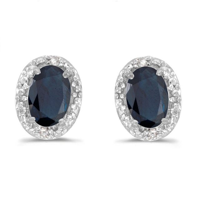 Amanda Rose Sapphire and Diamond Stud Earrings in 14K White Gold