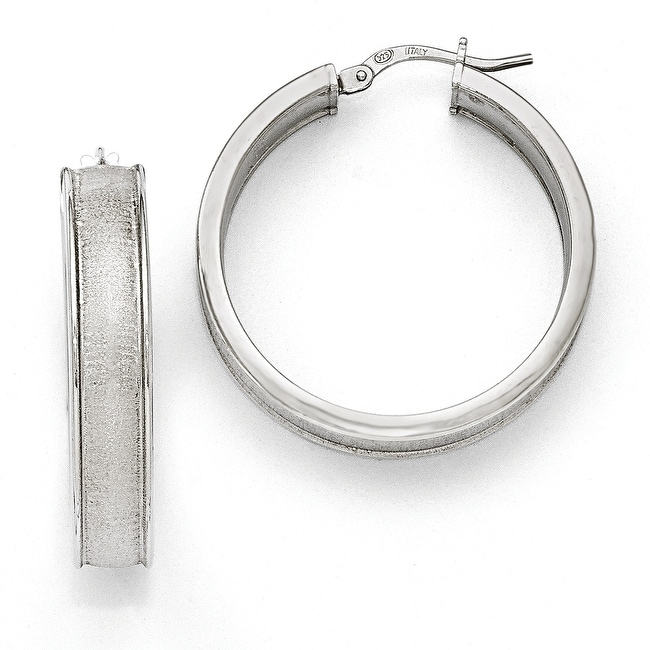 Italian Sterling Silver Polished Scratch Finish Hoop Earrings