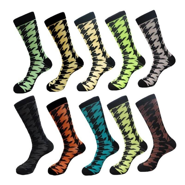 Fun Men's Houndstooth Check Cotton Crew Dress Socks (10 PAIRs) 10 - 13