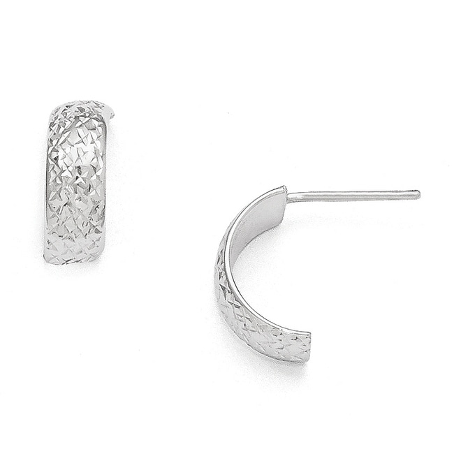 14k White Gold Polished and Diamond-cut Post Earrings