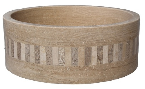 Cylindrical Mosaic Ring Vessel Sink - Light Travertine