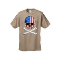 Men's T-Shirt USA Flag Skull Crossed Bones American Pride Stars/Stripes Patriotic - Thumbnail 3
