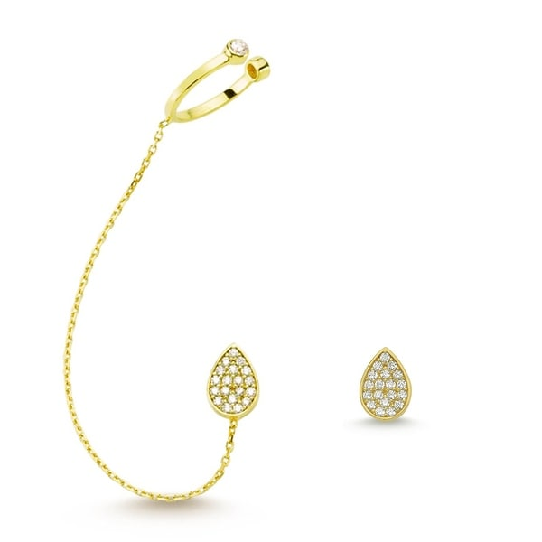 Amorium Mia Earring and Stud in 18K Gold Plated Sterling Silver