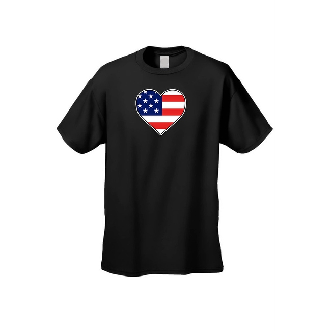 Men's USA Flag T Shirt Love & Pride Patriotic Beating Heart Stars & Stripes Tee