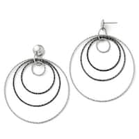 Italian Sterling Silver and Ruthenium Plated Diamond Cut Post Hoop Earrings