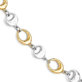 14k Two-Tone Gold Polished Link Bracelet - 7.75 inches