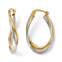 14k Two-Tone Gold Polished and Textured Oval Hoop Earrings