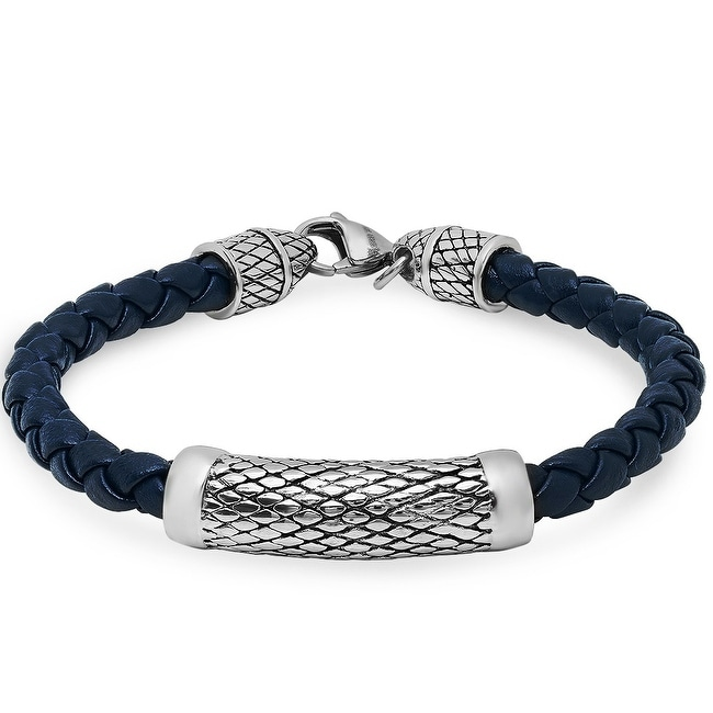 Oxford Ivy Braided Navy Blue Leather Bracelet with Lobster Claw Clasp ( 8 3/4 inches)