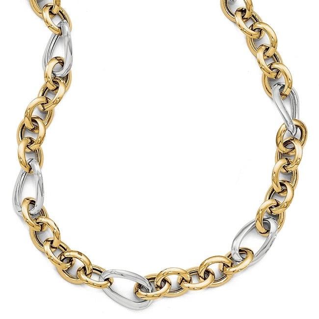 Italian 14k Two-Tone Gold Polished Fancy Link Necklace - 18 inches