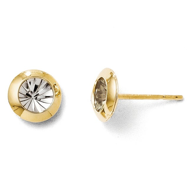 14k Gold Rhodium and Polished and Diamond-cut Post Earrings