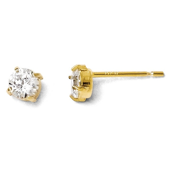 14k Gold Cz Stud-4.0mm Earrings