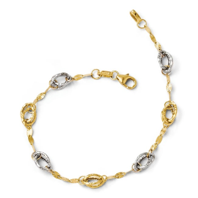 Italian 14k Two-Tone Yellow Gold and White Rhodium Fancy Link Bracelet - 7.25 inches