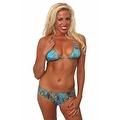 Women's 2-Piece Blue Beach Bikini True Timber Triangle Top & Basic Bottom Swimwear Swimsuit - Thumbnail 0