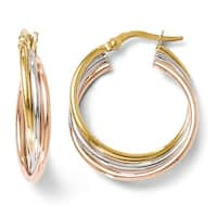 Italian 14k Tri-Color Gold Polished and Textured Twisted Hoop Earrings