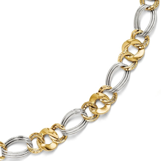 Italian 14k Two-Tone Gold Polished and Textured Fancy Link Bracelet - 7.5 inches