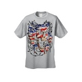 Men's T-Shirt USA Flag Skulls In Chains Stars & Stripes Pride American Graphic Tee - Thumbnail 1