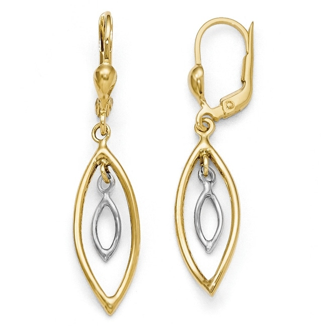 10k Two-Tone Gold Polished Dangle Leverback Earrings