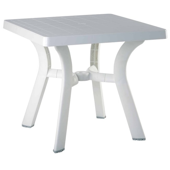 "Viva Resin Square Dining Table 31 Inch (White) (29""H x 31""W x 31""D)"