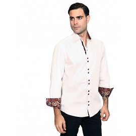 IN-41 Men's Manzini Solid White Cotton Shirt with Paisley Trim