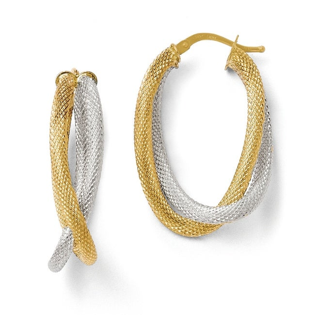 Italian 14k Two-Tone Gold Textured Hoop Earrings
