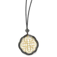 Italian Sterling Silver Italian, Ruthenium & Gold-Plated Italian 14K Flash Necklace - 18 Inches