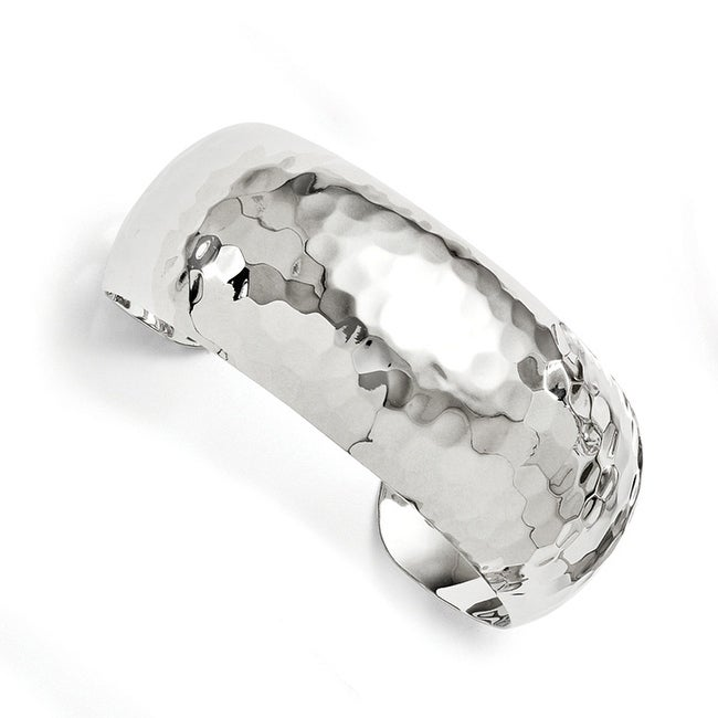 Sterling Silver Polished Hammered Slip-on Bangle